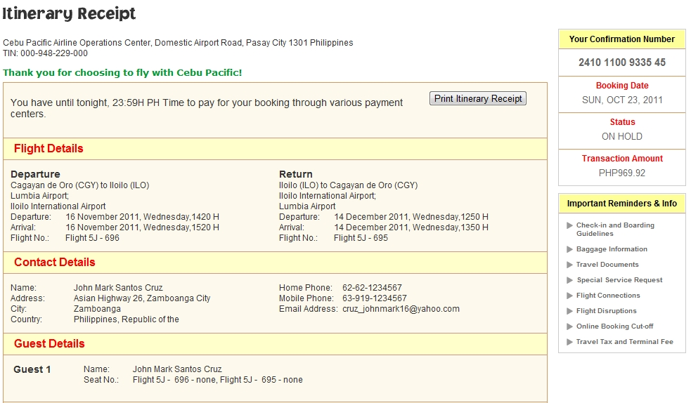 Pinoy Mensahero How To Book Online In Cebu Pacific Air Without A