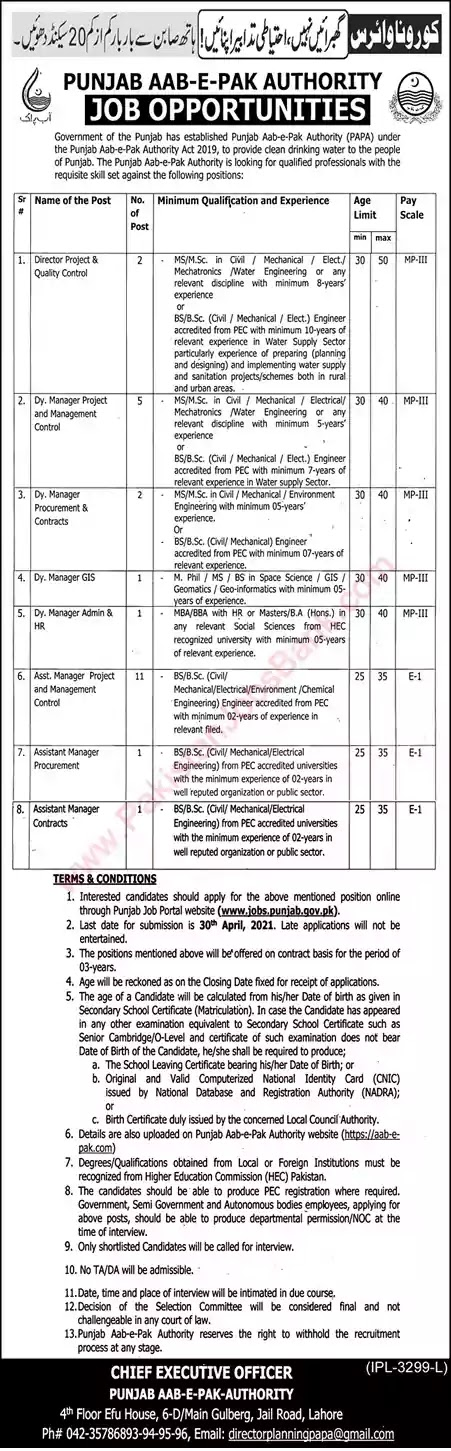 New Jobs in Pakistan Punjab Aab e Pak Authority Jobs 2021 | Apply Online