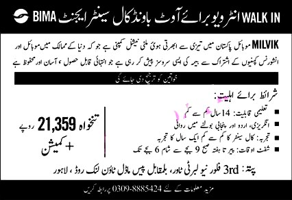 Call Center Agents Latest Jobs 2021 in Milvik Mobile Pakistan