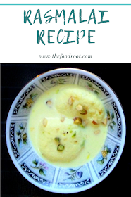 Delicate rasmalai cheese balls topped with cardamoms and pistachios.