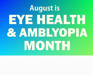 Blue to green gradient background with the words August is Eye Health and Amblyopia Month