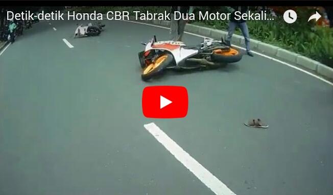 Detik-detik Honda CBR Tabrak Dua Motor di Bogor
