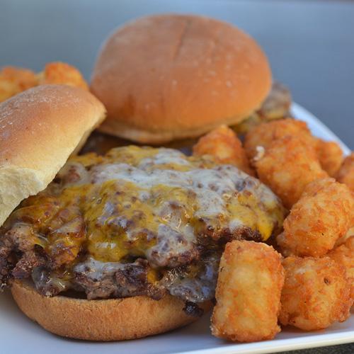 Cheddar Jack Smash Burgers Sliders on the Big Green Egg kamado grill