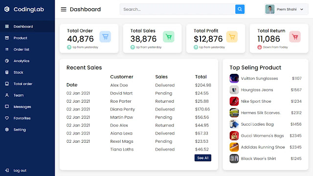 Admin Dashboard Design Code in HTML and CSS