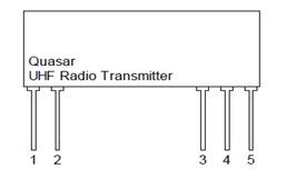 Quasar UHF Radio Transmitter Pin Schematic and Descriptions