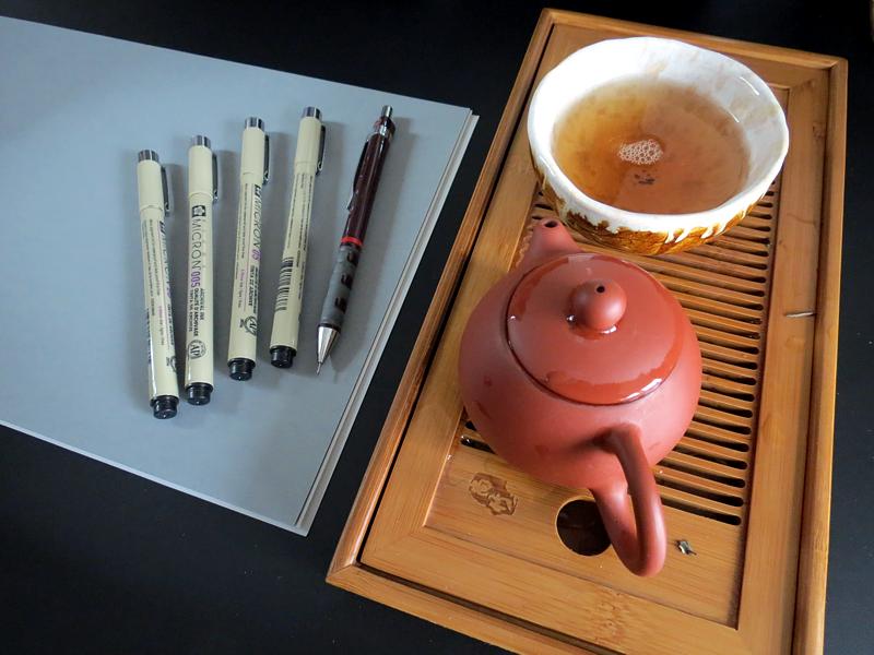 herbata i cienkopisy