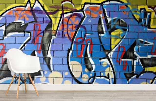 graffiti tapet mur tegel tapet ungdomstapet fototapet ungdomsrum killtapet