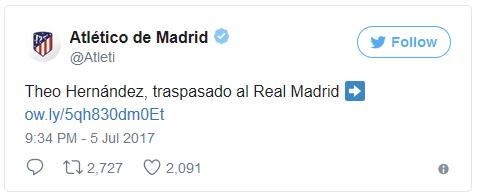 Pernyataan Resmi twitter Atletico untk transfer Theo Hernandez telah dill