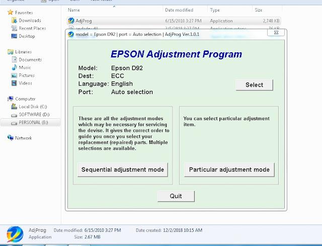 Resetter Epson Stylus D92