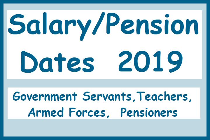 Salary / Pension Dates - 2019 (Teachers) - Teacher
