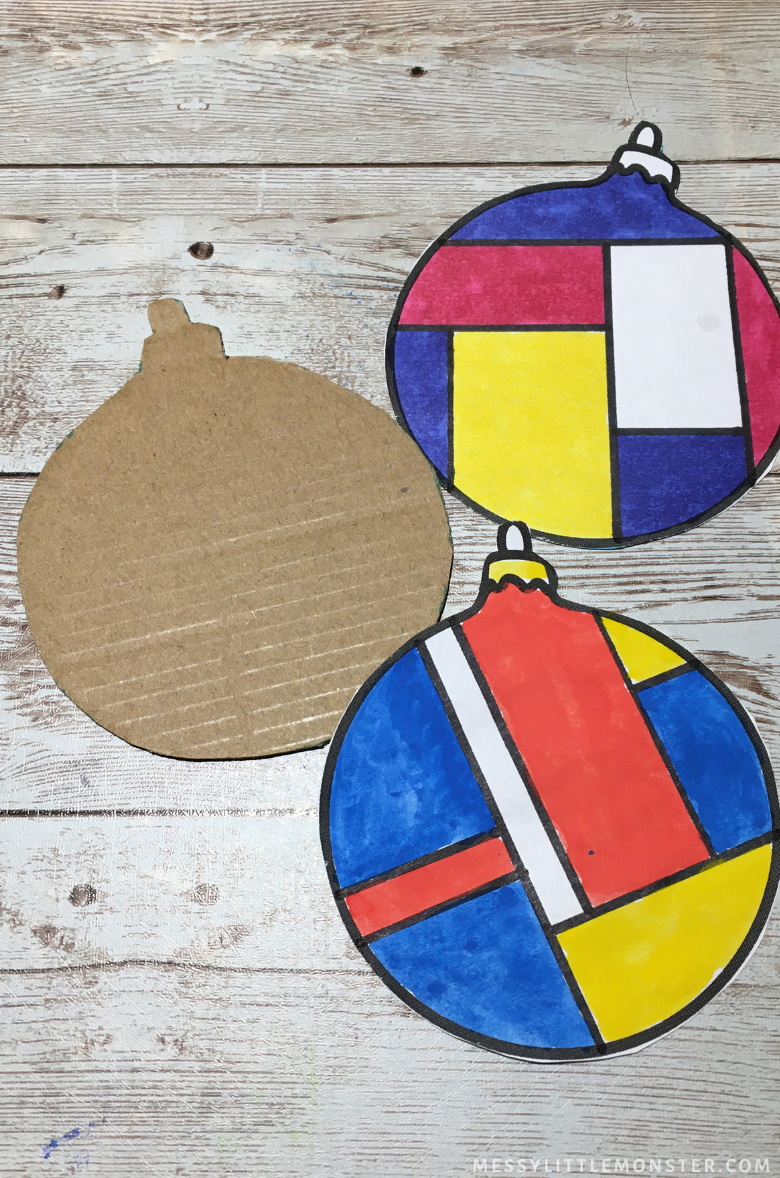 Mondrian ornament craft for kids
