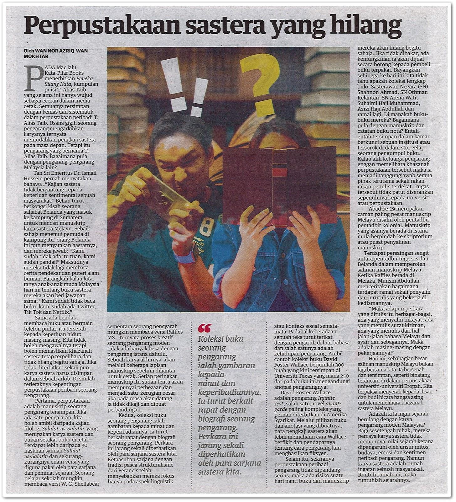 Perpustakaan sastera yang hilang - Keratan akhbar Mingguan Malaysia 2 Jun 2019