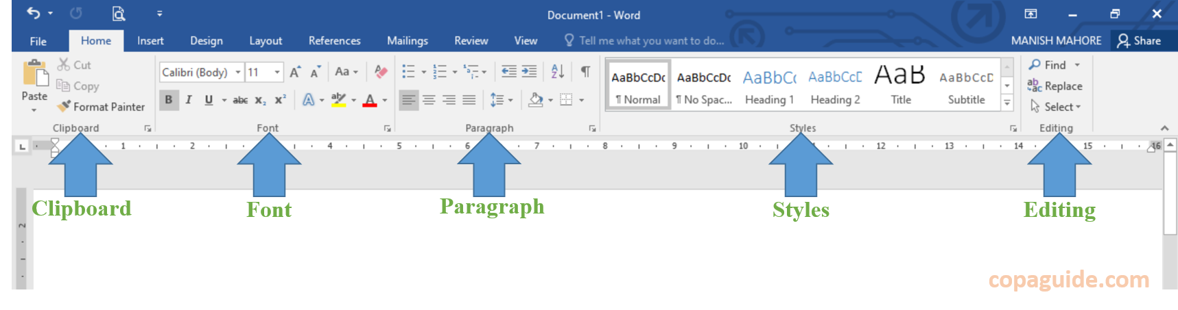 MS Word Home Tab Commands