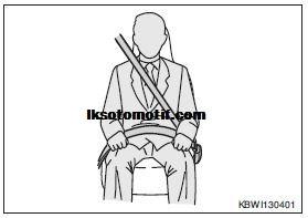 menggunakan safety belt 3 titik