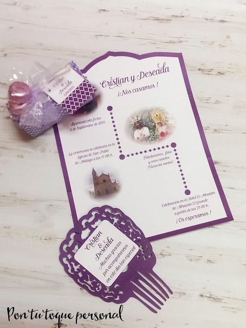 Papeleria de boda con invitación de boda con fotos