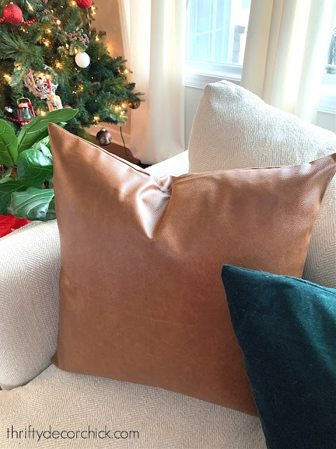 faux leather pillow covers on sofa