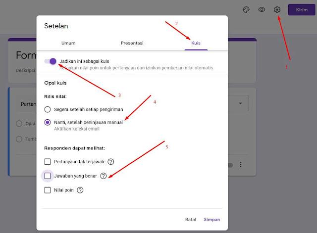 Setting kuis google form