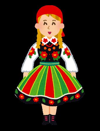 民族衣装を着たポーランドの女性のイラスト