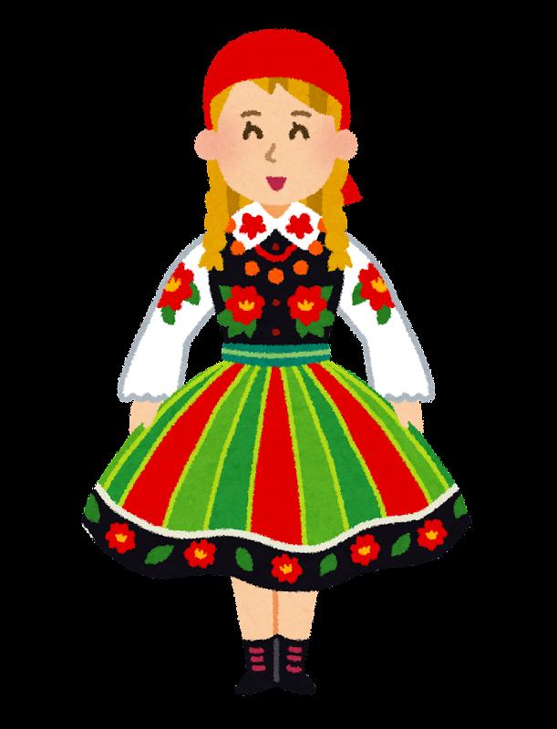 民族衣装を着たポーランドの女性のイラスト かわいいフリー素材集
