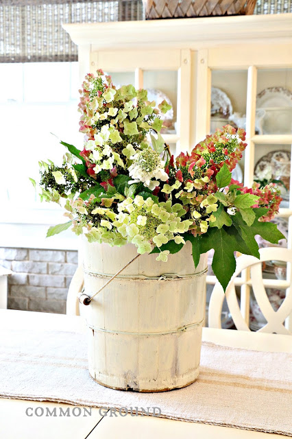 hydrangea decor rustic farmhouse wooden ice cream bucket dining room table