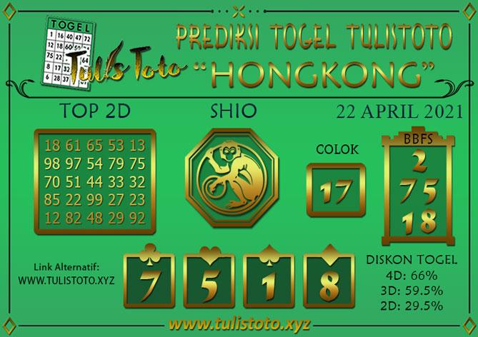 Prediksi Togel HONGKONG TULISTOTO 22 APRIL 2021