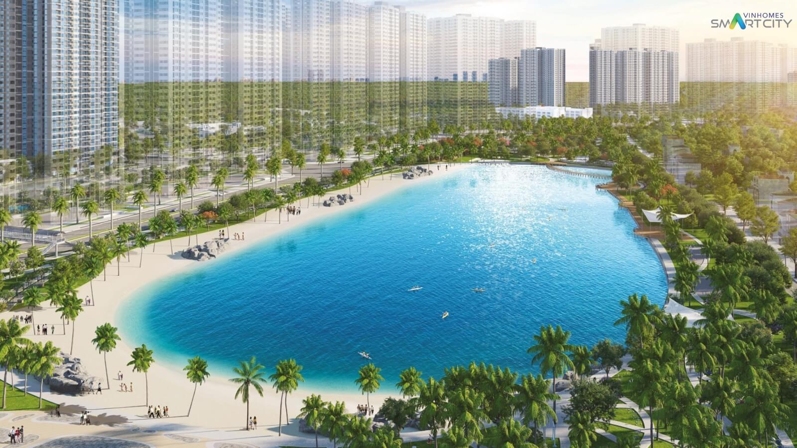 Công viên hồ điều hoà của dự án Vinhomes Smart City Tây Mỗ