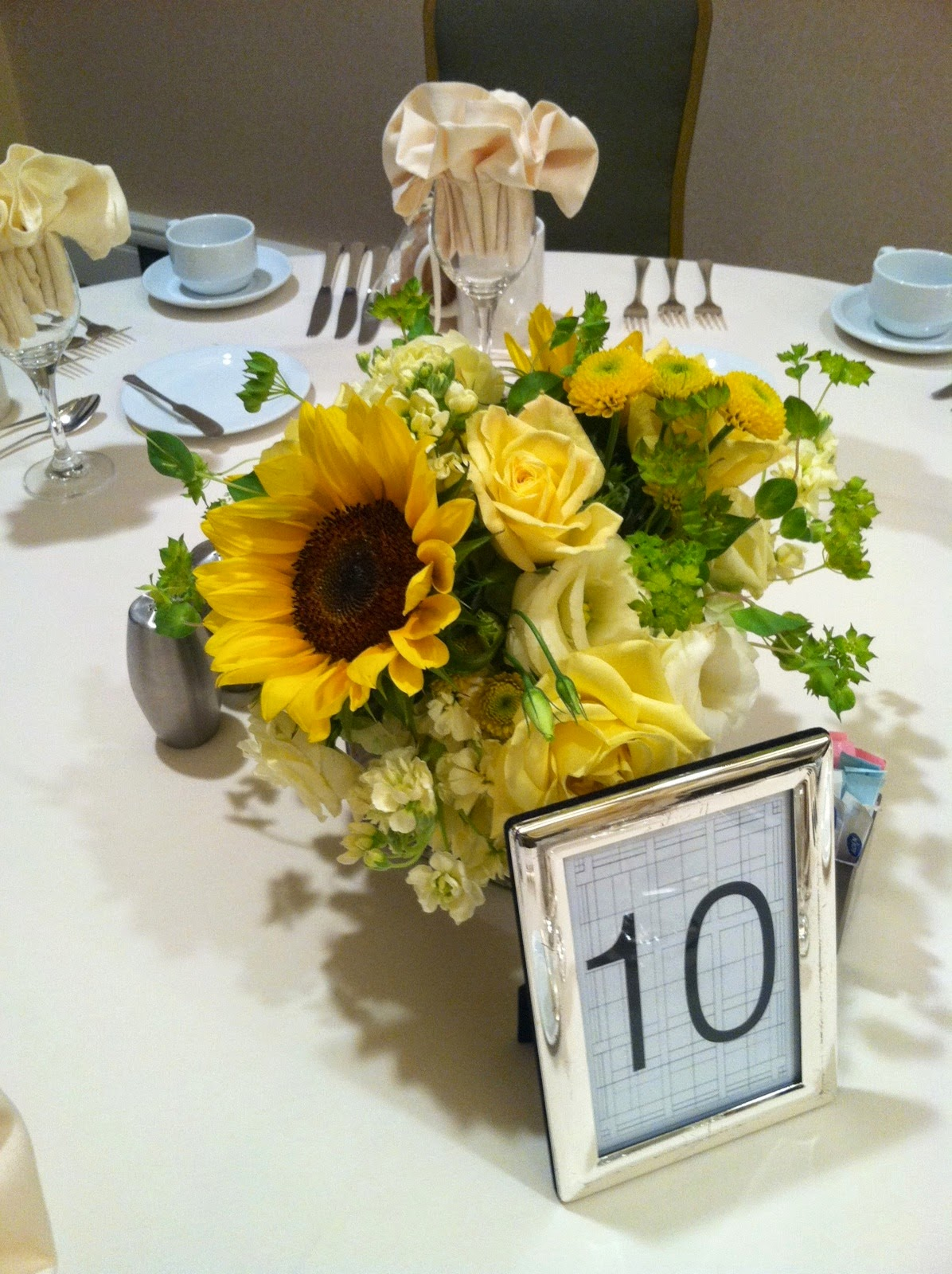 sunflower themed wedding centerpiece