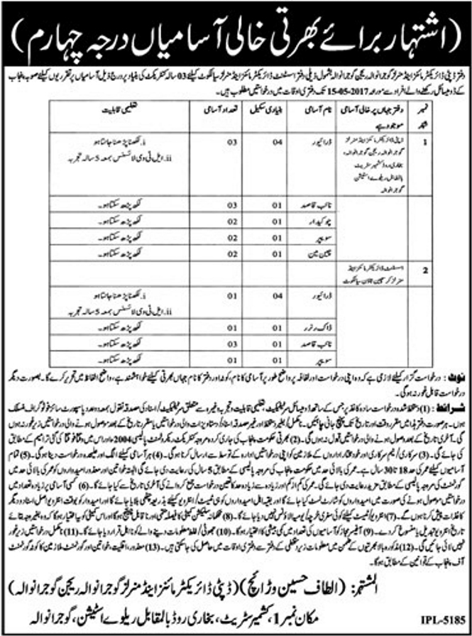 jobs in Mines And Minerals Department Gujranwala 2 may 2017