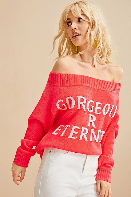 Shein Letter Off Shoulder Sweater for Womens