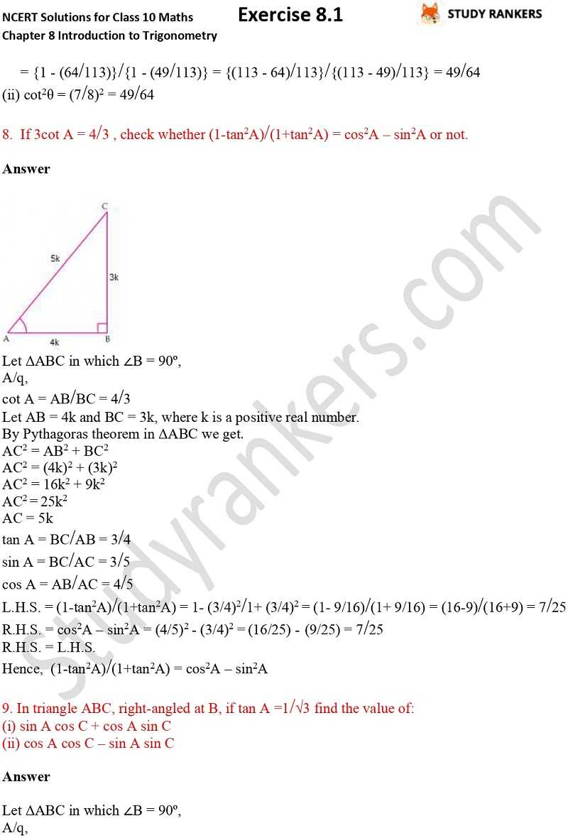 NCERT Solutions for Class 10 Maths Chapter 8 Introduction To Trigonometry Exercise 8.1 Part 5