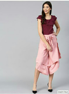 Women Stylish Crepe Layered Solid Top & Culottes Set