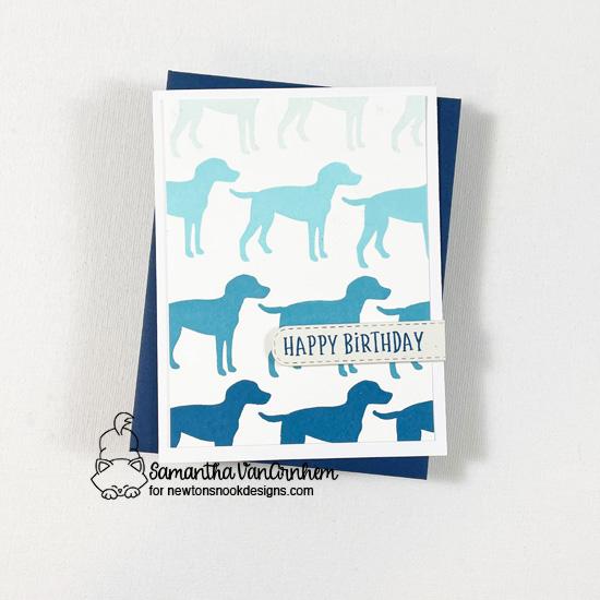 Bold Birthday Dog Card by Samantha Van Arnhem   Furr-ever Friends Stamp Set, Birthday Roundabout Stamp Set and Banner Trio Die Set by Newton's Nook Designs #newtonsnook #handmade