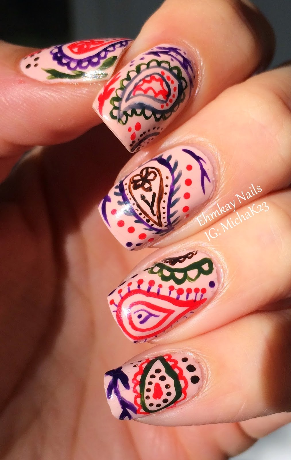 ehmkay nails: Hand-painted Paisley Nail Art with Jessica Autumn in ...