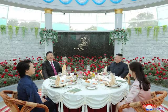 Kim Jong Un hosts luncheon for president Xi Jinping and his wife Peng Liyuan, June 21, 2019