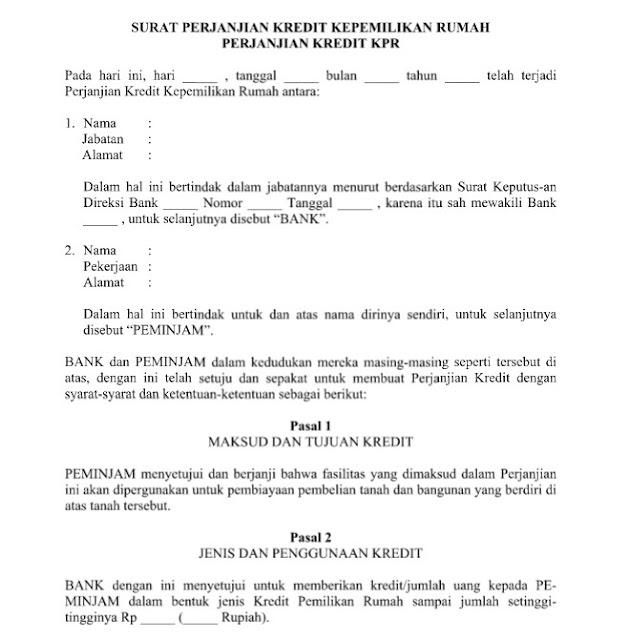 Contoh Surat Perjanjian Kredit Kepemilikan Rumah (KPR) Format Word