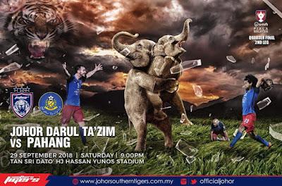Live Streaming JDT vs Pahang Piala Malaysia 29.9.2018