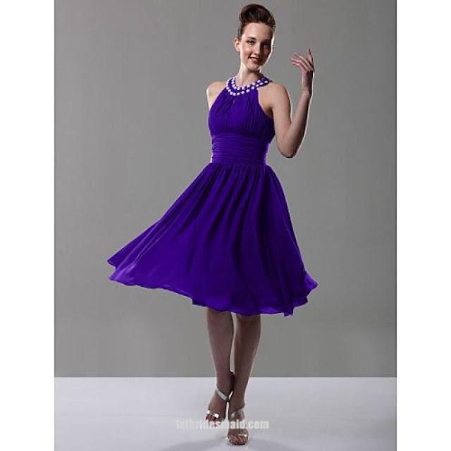 Custom Made Beaded Chiffon Ruched Short Purple Bridesmaid Dress 2016