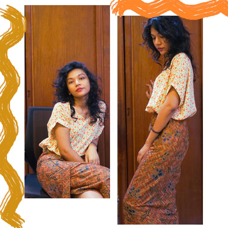 Long batik skirt with roomy patterned blouse
