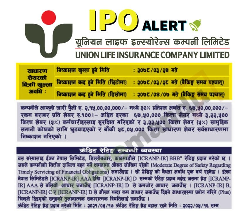 Union Life Insurance Company Limited Upcoming IPO Share