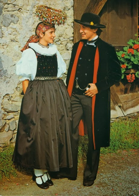 Wedding couple from Germany in traditional costume of region