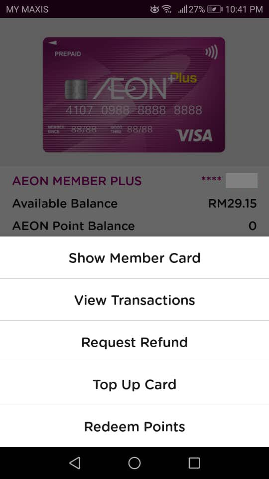 Top-up AEON Card: Select Top Up Card
