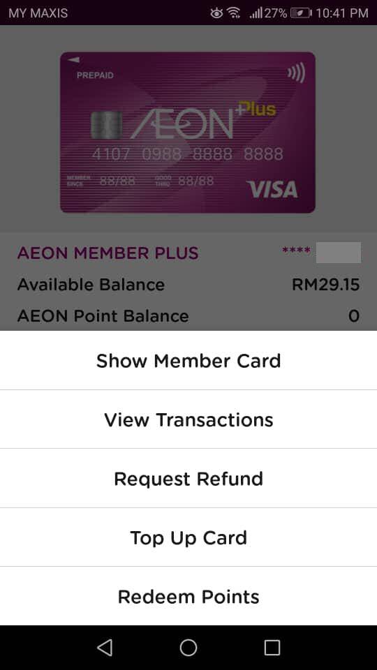Top-up AEON Card: Select Top Up Card