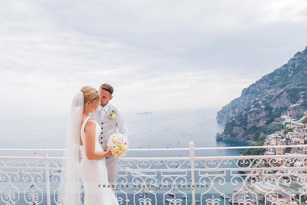 Bride and groom at their Villa Olivero wedding