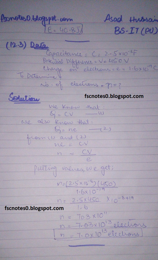F.Sc ICS Notes: Physics XII: Chapter 12 Electrostatics Numerical Problems by Asad Hussain 14