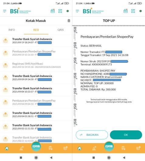 Bukti Transaksi di BSI Mobile