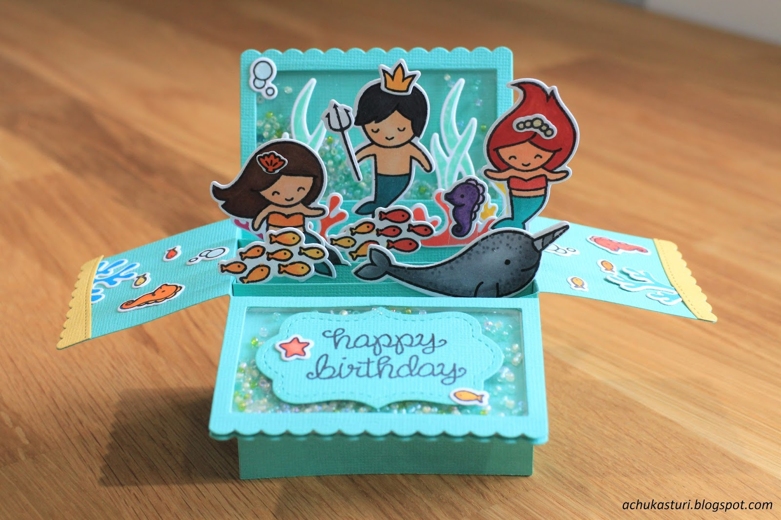 My paper craft underwater birthday box card pop up for Decor yo pops