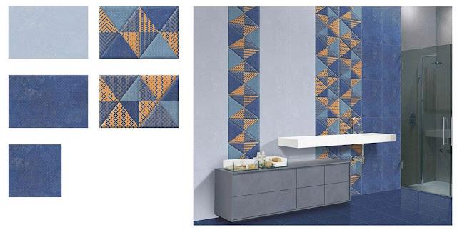 Navy Blue Floor Tile Bathroom