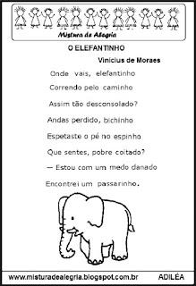 Poesia o elefantinho e atividades