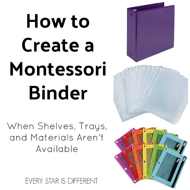 How to Create a Montessori Binder when Shelves, Trays, and Materials Are Not Available