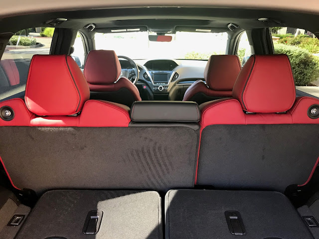 View from rear cargo area forward in 2020 Acura MDX SH-AWD A-Spec